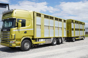 SCANIA R164 V8 , 6x2 , 2 hydraulic decks , 70m2 , live stock  eläinkuljetusauto + eläinkuljetusperävaunu